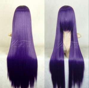 928 New Long Dark Purple Cosplay Straight Wig 100cm