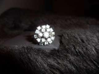 Vintage 18k HGF Ring sz 6.5 Cubic Zirconia CLUSTER Ring white gold