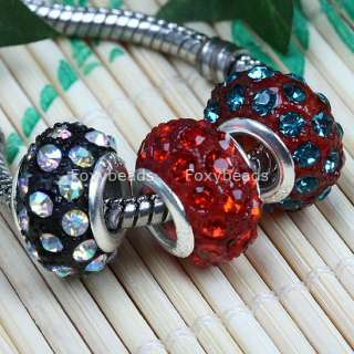 10Pc Mixed Crystal Glass Resin Bead Fit Charm Bracelet