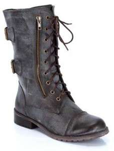 DESIGNER Womens Ankle High Riding BROWN Combat Boots