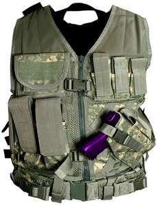 NcSTAR PVC Digital Camo ACU Reg Airsoft Tactical Vest LARGE w/ Holster