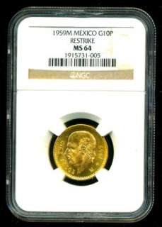 1959M MEXICO HIDALGO GOLD COIN 10 PESOS * NGC CERT GENUINE GRADED MS