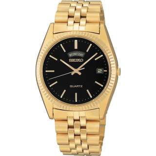 NEW SEIKO SGF212 MENS GOLD TONE BLACK DIAL WITH DAY/DATE QUARTZ WATCH