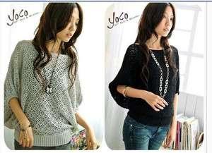 Q004 women knitting batwing Hollow Tops T shirt 2 4 6