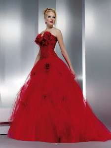 New Red Wedding Dress/Bridesmaid Prom Gown Size*Custom