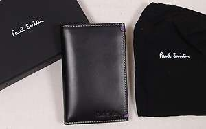 PAUL SMITH WALLET $265 BLACK LOGO KEEPSAKE COLLAGE SLIM LEATHER BILL