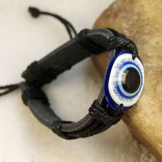 Wonderful Evil Eye leather hemp bracelet Wristband