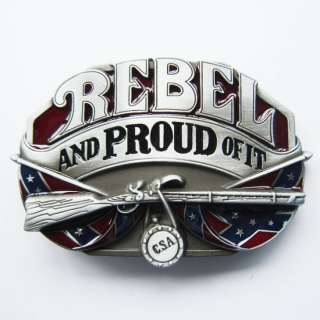 CSA Confederate Flag REBEL and PROUD OF IT Belt Buckle south rifle