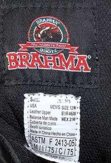 BRAHMA SWAT/DUTY LEATHER BLACK BOOTS STEEL TOE WORK/SAFETY MENS sz 12