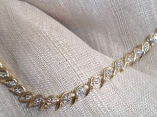 ladies 14k yellow gold double diamond tennis bracelet