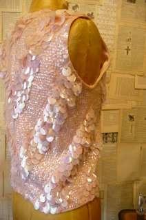 Vintage Vtg 50s Pink Beaded Sequin Sweater Wool