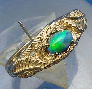62 ct. Opal, 14k Yellow Gold Leaf Ring, can size