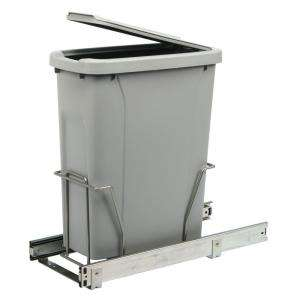 Real Solutions Single 20 qt. Platinum Trash Bin with Lid and Pull Out