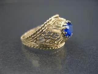 Vintage 14k Gold Filigree Cigar Band Ring Blue Sapphire