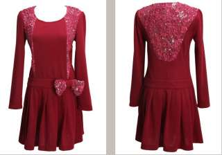 new flower rose lace bow ruffles long sleeve slim fitted dress 3