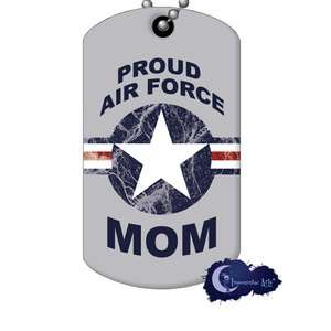 Proud Air Force Mom Military Supporter Dog Tag & Chain