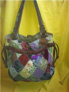 Lucky Brand Handbag Multi Color Patchwork Large Hobo Bag Purse Italian