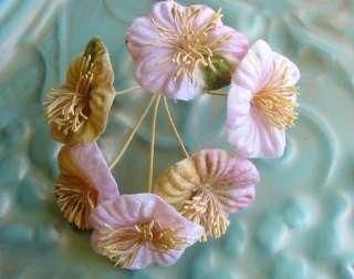 Beautiful Round Pink Green Velvet Millinery Flowers
