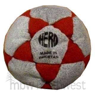 HACKY SACK FOOTBAG HERO / 32 PANEL w/ SAND, GREY & RED