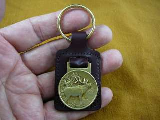 Medallion LEATHER KEYCHAIN key chain RING Elk Wapiti buck deer