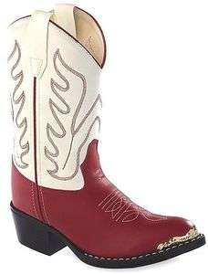 Kids Red/White Cowgirl Boots Sizes 9 13,2,3