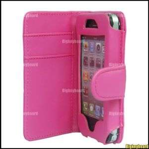 Hot Pink Wallet Flip Leather Case Cover For iPhone 4