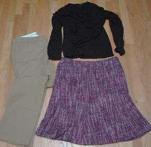 10 Clothing Lot Skirt Khaki Pants Black Knit Shirt LS Old Navy NY & Co