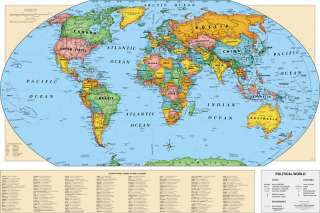 Cram Childrens World Wall Map Laminated 49 X 33