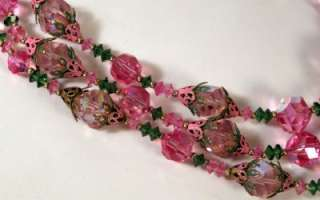 Vintage VENDOME Pink Green Rhinestone Crystal Necklace