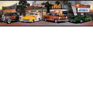 FOUR DECADES OF HOT ROD CARS WALLPAPER BORDER BLACK EDGE LL50142B
