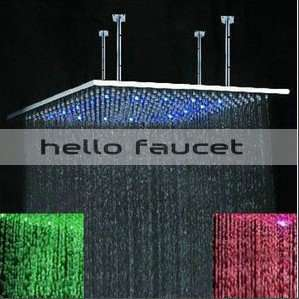 20 Square Brushed Nickel Finished Stainless Steel LED Rain Shower
