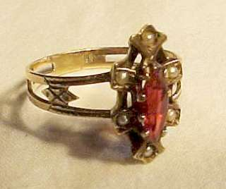 Antique Victorian 10 K Gold ring red stone & pearls size 8 NICE