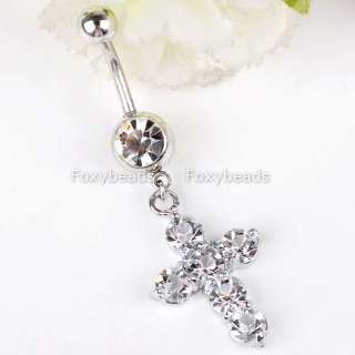 CLEAR Crystal CROSS Dangle Navel Ring Body Piercing 1*