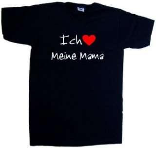 Ich Liebe Meine Mama T Shirt mit V Ausschnitt, Schwarz