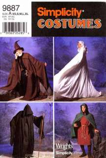 Simplicity Pattern 9887 Costume Hat Capes Tunic XS XL women men sewing