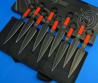 pc Knife Set Kunai Ninja Throwing Knives Black Finger Hole Handles w