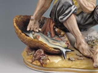 Vintage Capo di Monte Fisherman Man w/ Fish Porcelain Figurine