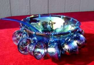 INDIANA GLASS BLUE GRAPE CARNIVAL GLASS PRINCESS 26PC PUNCH BOWL SET