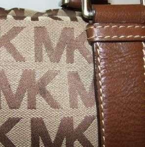 Kors Bedford Monogram Jacquard Satchel Bag Purse Handbag Mocha