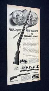 SAVAGE Stevens 530 Double Barrel Shotgun 1951 print Ad