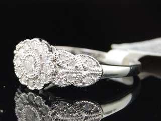 LADIES 10K WHITE GOLD DIAMOND FLOWER ANNIVERSARY RING
