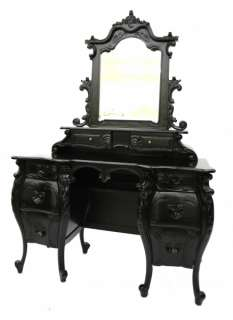 French Furniture Rococo Dressing Table & Mirror Black