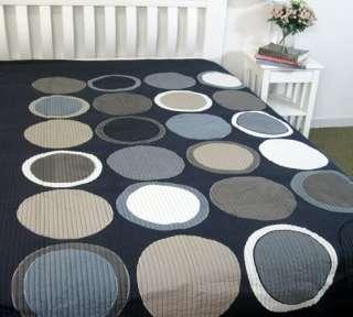 URBAN Navy Blue RETRO Applique Bedspread Quilt SINGLE