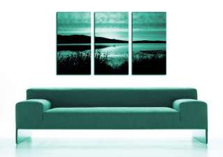 ea CANVAS ARTWORK XL TEAL LANDSCAPE SCENERY PRINTS KVT3