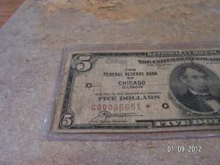1929 $5 * Star Note Chicago Brown Seal National Currency Five Dollar