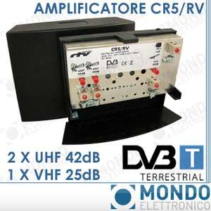 AMPLIFICATORE ANTENNA DA PALO TV DIGITALE TERRESTRE VHF 25dB 2 x UHF
