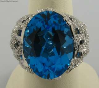 Magnificent Very Large Gem Blue Topaz 128 Diamonds 18k White Gold Ring