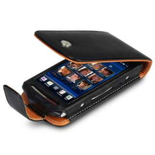 BLACK PU LEATHER FLIP CASE FOR SONY ERICSSON XPERIA NEO