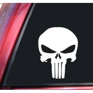 Punisher 2K Skull Vinyl Decal Sticker   White