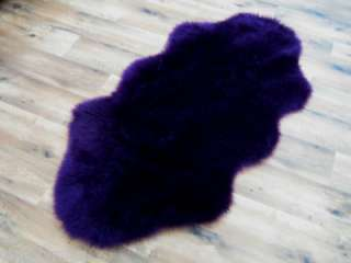 Washable Purple Faux Fur Rug 70 x 135cm sheepskin shape